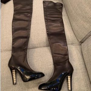 Chanel over the knees pearl boots 38.5